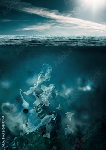 Plastic toxic waste polluting ocean water © stokkete