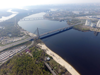 Moscow Bridge across Dnepr River, photo from drone.  Kiev,Ukraine