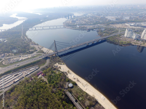 Moscow Bridge across Dnepr River, photo from drone.  Kiev,Ukraine  © Sergey Kamshylin