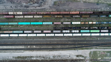 railway from the air top view drone shoot