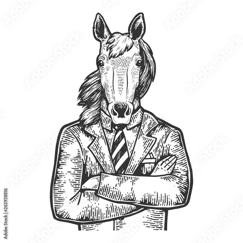 Horse head businessman sketch engraving vector illustration. Scratch board style imitation. Black and white hand drawn image. © Alexander Pokusay