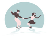Swing dance couple silhouette on a green background with gradient shadow