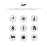 9 round vector icons such as india, rangoli, indian elephant, gate of india, namaste contains india badge, yagna, indian goddess, hindu. rangoli, icon3_, gray icons