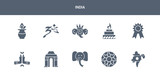 10 india vector icons such as india, rangoli, indian elephant, gate of india, namaste contains badge, yagna, indian goddess, hindu, kalasha. icons