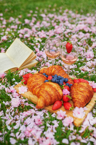 Beautiful picnic with rose wine, French croissants and fresh berries