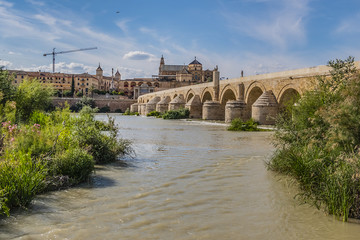 View of Roman bridge of Cordoba (1st century BC) across Guadalquivir River. Present structure of bridge dates from Moorish reconstruction in VIII century. Historic centre of Cordoba, Andalusia, Spain.