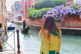 girl on Venice stress with Canal and city view