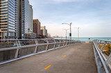 The Lakefront Flyover pedestrian path is along Lake Shore Drive near Navy Pier. Main streets in Chicago, streets in Illinois.