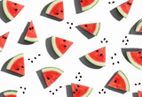 Sliced watermelons arranged on a white background