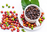 Roasted coffee beans and red ripe coffee beans