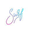 Surf lettering. Modern vibrant colorful Surf vector label.