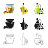 Vector design of healthy  and vegetable  logo. Set of healthy  and agriculture stock vector illustration.