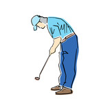 Golfer figure. Male golf player in active pose. Vector flat illustration. Isolated black contour and colors. Hand drawn silhouette. Active recreation. Sketch style.