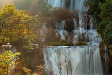 Tee lor su Waterfall or Thi Lo Su Waterfall or Thee Lor Su Waterfall,  the largest and highest waterfall in Umphang Tak Thailand