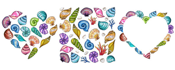 Hand painted watercolor shells template isolated on white background. © Tasha_zen