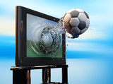 soccer ball flies out from the TV 3d render