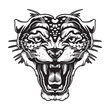 Leopard angry face tattoo. Vector illustration of jaguar head. Cougar print. Cheetah face logo.
