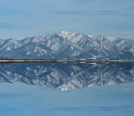 The beautiful nature atmosphere around Lake Inawashiro in Fukushima, Japan.