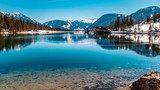 Beautiful alpine winter view with reflections at the famous Piller lake-Tyrol-Austria
