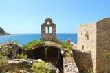 Ruins of an old stone church in the coastal town Limeni.  In the Inner Mani.  Peloponnese, Greece, South-east Europe.