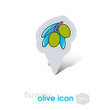 Olive pin map icon. Olive tropical fruit sign