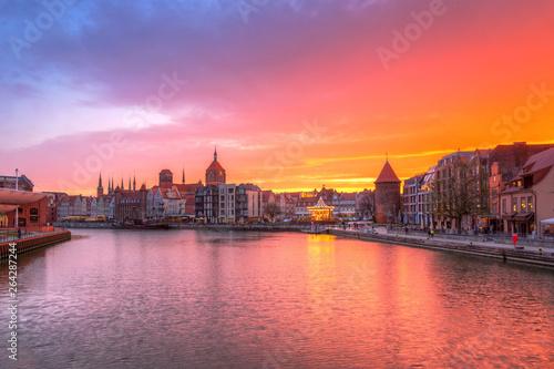 Amazing sunset in Gdansk reflected in Motlawa river, Poland. © Patryk Kosmider