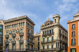 Facades of houses on the Rambla in Barcelona