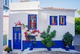 Beautiful house in old greece town, Crete island, Greece. Summer landscape