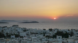 sunset view of the town of chora on mykonos