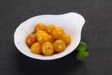 Yellow ripe cherry dessert
