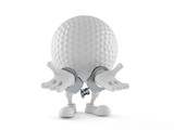 Golf ball character in handcuffs