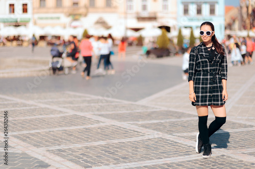 Trendy Woman With Shirt Dress and Sunglasses on Vacation