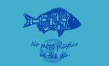 STOP PLASTIC POLLUTION, Ecological awareness, Fish composed by plastics