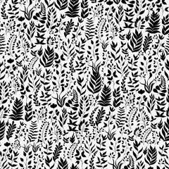 Seamless vector pattern with plants and twigs in black and white