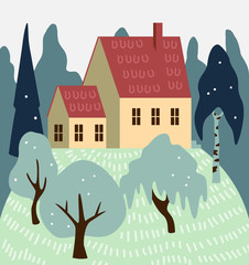 House vector illustration. Private home abstract drawing.