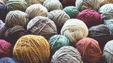 Vintage toned picture of wool yarn balls, shallow depth of field.