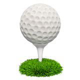 Golf ball on the stand in the grass, 3D rendering