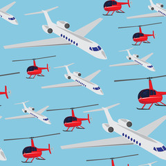 Pattern with airplane and helicopter