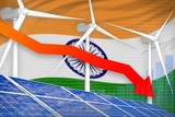 India solar and wind energy lowering chart, arrow down - modern natural energy industrial illustration. 3D Illustration