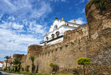 Back of the Episcopal Palace over the medieval Walls of Plasencia, province of Caceres, Spain.
