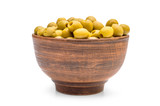 Bowl with green olives on white.