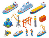 Seaport Isometric Icon Set