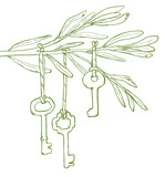Branch decoration rope key leaves vector line art