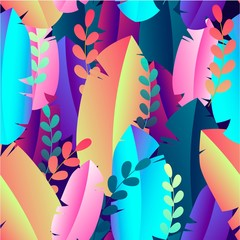Tropical leaves seamless pattern. Colorful botanical ornament. Vector EPS 10.