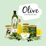 Olives and olive oil. Natural olives oils, glass and metallic cans, olive branches vector collection on green background