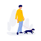 Man walking with little dog Vector illustration
