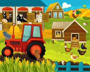 cartoon happy and funny farm ranch scene with happy animals - illustration for children