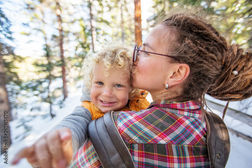 Family in Rocky mountains National park in USA © Maygutyak