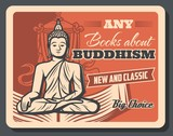 Buddhism religion teaching literature books poster