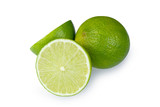 Whole and half with slice of fresh green lime isolated on white background with clipping path